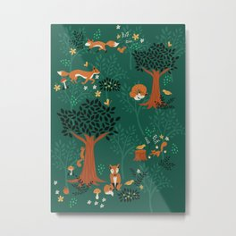 Foxes Playing in the Emerald Forest Metal Print