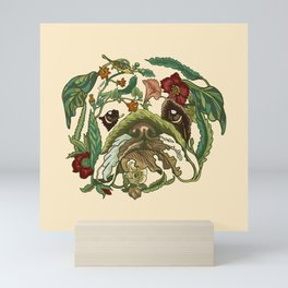 Botanical English Bulldog Mini Art Print