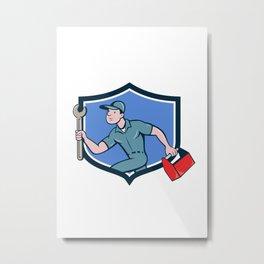 Mechanic Spanner Toolbox Running Crest Cartoon Metal Print