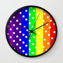 Rainbow Striped and Polka Dots Pattern Wall Clock