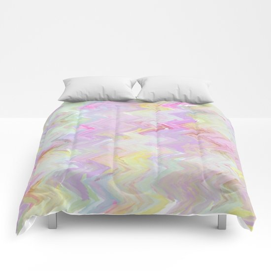 Pastel Waves Abstract - Painterly Comforters