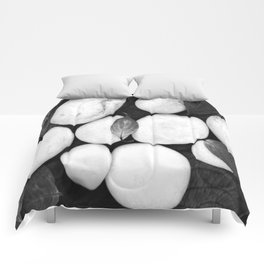 Zen White Stones On A Black Background #decor #society6 #buyart Comforters