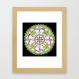 Winter Wreath Mandala (black background) Framed Art Print