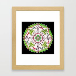 Winter Wreath Mandala (black background) Framed Art Print