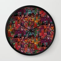 cities Wall Clocks featuring Cities on Cities by Killian Hlava