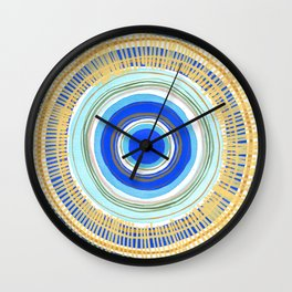 Turquoise Evil Eye Mandala Wall Clock