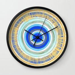 Turquoise Evil Eye Mandala Wall Clock