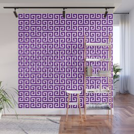 Purple and White Greek Key Pattern Wall Mural