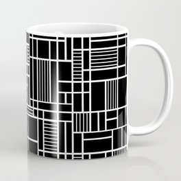 Map Lines Black Coffee Mug
