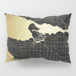 Vancouver Canada Black and Gold Map Pillow Sham