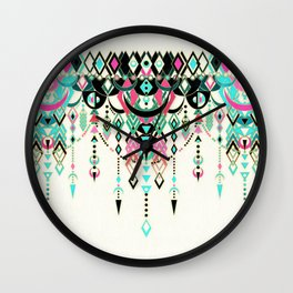 Modern Deco in Pink and Turquoise Wall Clock