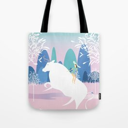 The Girl and the Bull in the Meadow Tote Bag