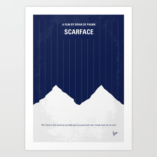No158 My SCARFACE minimal movie poster Art Print