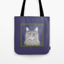 CUTE YOUNG TABBY CAT GREY BEIGE CHALK PASTEL DRAWING Tote Bag