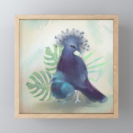 V is for Victoria Crowned Pigeon Framed Mini Art Print