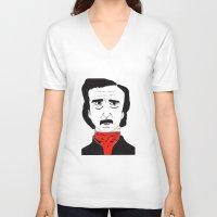poe V-neck T-shirts featuring Poe by Natália Damião
