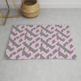 Purple and Grey Abstract Woven Grid Design Rug