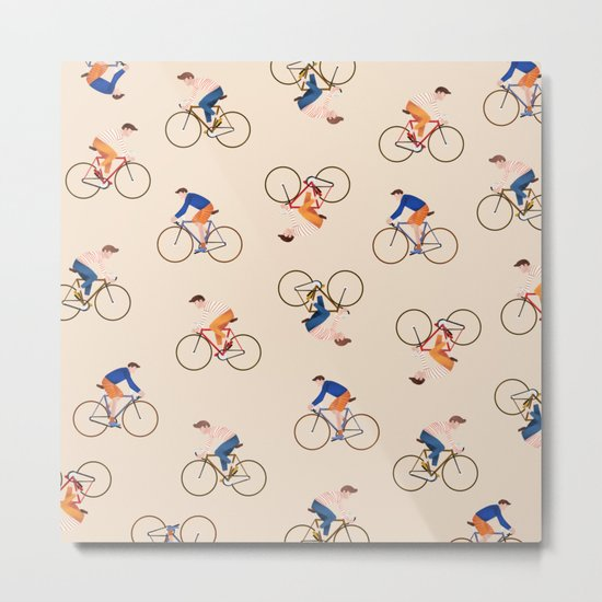 Bike Pattern Metal Print