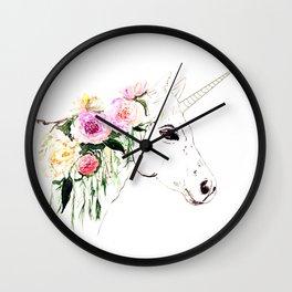 Unicorn, flowers, watercolor Wall Clock