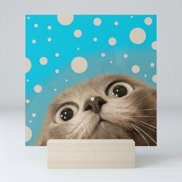 """Fun Kitty and Polka dots"" Mini Art Print"