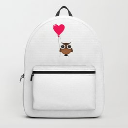 Carpe Noctem Seize the Night Cute Owl with Heart Balloon Night Owl Backpack