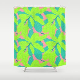 Tropicana Banana Leaves in Neon Peach + Lime Shower Curtain