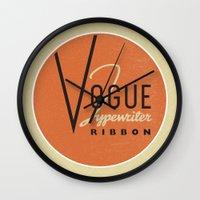 vogue Wall Clocks featuring Vogue by One Little Bird Studio