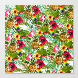 Tropical red yellow orange watercolor pineapple fruit floral Canvas Print
