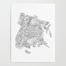 Bronx - Hand Lettered Map Poster