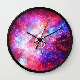 Galaxy Nebula Glitter Music Note Pink Space Wall Clock