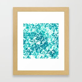 Watercolor Leaves Pattern in Teal Framed Art Print