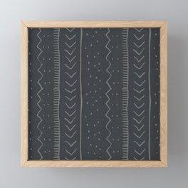 Moroccan Stripe in Charcoal Framed Mini Art Print
