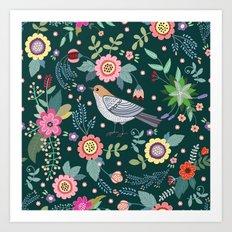 Pattern with beautiful bird in flowers Art Print