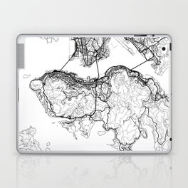 Hong Kong Map White Laptop & iPad Skin
