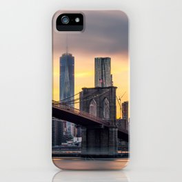 Brooklyn Bridge and Lower Manhattan at Sunset with Low Clouds iPhone Case