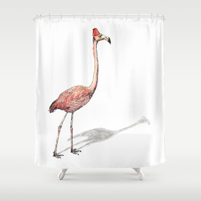 Fez Hat Flamingo Shower Curtain