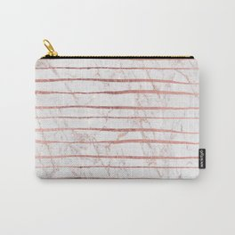 Stylish rose gold glitter stripes white marble pattern Carry-All Pouch