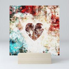Vintage Heart Abstract Design Mini Art Print