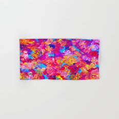 FLORAL FANTASY Bold Abstract Flowers Acrylic Textural Painting Neon Pink Turquoise Feminine Art Hand & Bath Towel