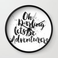adventure is out there Wall Clocks featuring Adventure  by Nina & Charlotte