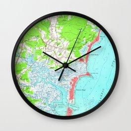 Vintage Map of Hampton Beach New Hampshire (1957) Wall Clock