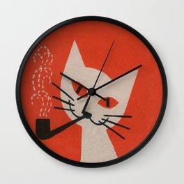 Retro White Cat Smoking a Pipe Wall Clock