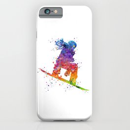 Girl Snowboarding 5 Colorful Watercolor Artwork Winter Sports Gift iPhone Case