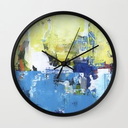 Parakeet Blue Yellow Abstract Art Wall Clock