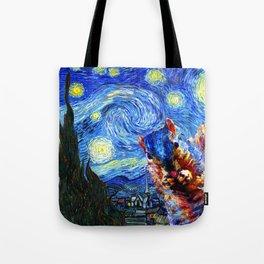 Starry Night Squirrel Photo Bomb Pop Art Tote Bag
