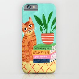 Cat, books and plants iPhone Case