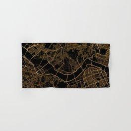 Black and gold Seoul map Hand & Bath Towel