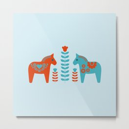Scandinavian Folk Art Dola Horses and Flowers Metal Print