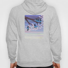 Steller's jays and cherry blossoms Hoody