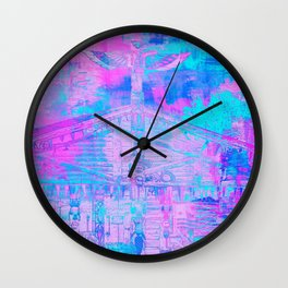 Totem Cabin Abstract - Hot Pink & Turquoise Wall Clock